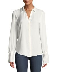 PAIGE - Abriana Button-front Bell-sleeve Top - Lyst
