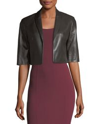 Michael Kors - Cropped Plonge Leather Jacket - Lyst