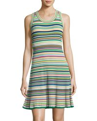 MILLY - Micro Striped Flare Dress - Lyst