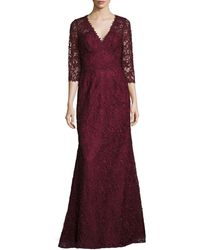 Liancarlo - Lace V-neck 3/4-sleeve Gown - Lyst