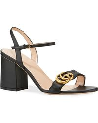 c1c68369fb2 Lyst - Gucci Leather Mid-heel Sandal in Brown