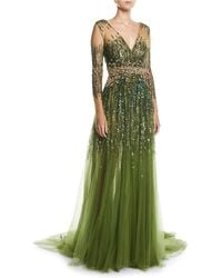 Pamella Roland - Long-sleeve Sequined Illusion Gown - Lyst