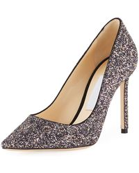 Jimmy Choo - Romy 100mm Coarse Glitter Fabric Pumps - Lyst