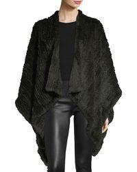 Adrienne Landau | Knit Fur Cape | Lyst