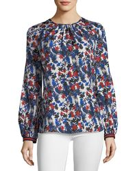 MILLY - Mandy Hibiscus-print Silk Top - Lyst