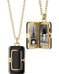 Monica Rich Kosann - 18k Ceramic Rectangle Locket With Diamonds - Lyst