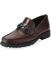 Ferragamo - Men's David Leather Lug-sole Loafer - Lyst