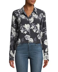 Theory - Sunaya Floral Photo Button-front Silk Blouse - Lyst