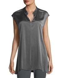 Eileen Fisher - Cap-sleeve Stretch Silk Charmeuse Top - Lyst