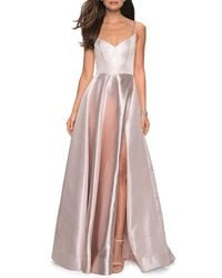 La Femme - Metallic Sweetheart Sleeveless Ball Gown With High Slit - Lyst
