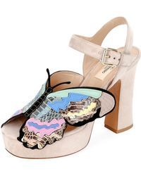 3f8f17f6947 Rockstud Block Heel Sandals.  930. Flannels · Valentino - Suede Butterfly  Platform Sandals - Lyst
