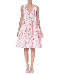 Carolina Herrera - Sleeveless Fit-and-flare Floral Fil Coupé Party Dress - Lyst