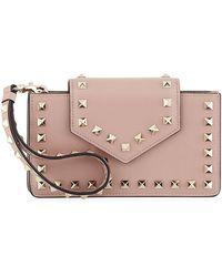 Valentino - Rockstud Leather Flap Phone Case - Lyst