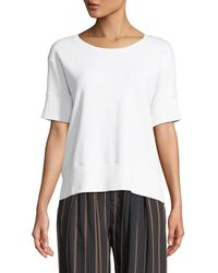 Vince - Short-sleeve Cotton Scoop-neck Sweatshirt Top - Lyst