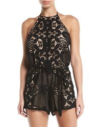 Miguelina - Harriet Lace Rope-belt Romper - Lyst
