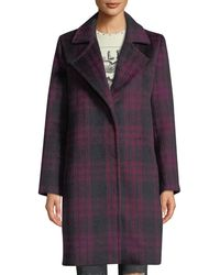 Cupcakes And Cashmere - Aldean Plaid Snap-front Long Coat - Lyst