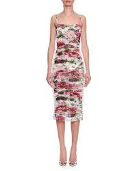 Dolce & Gabbana - Sleeveless Thin-strap Rose & Peony Print Ruched Chiffon Dress - Lyst