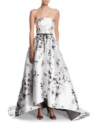 Monique Lhuillier - Strapless Belted Floral-print High-low Evening Ball Gown - Lyst