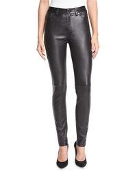 Neiman Marcus   Stretch Lambskin Leather Skinny Jeans   Lyst