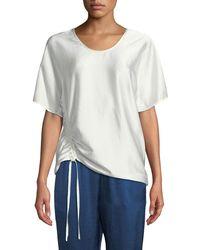 T By Alexander Wang   Asymmetric Drape Short-sleeve Top   Lyst
