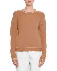 Marni - Crewneck Long-sleeve Cashmere Knit Sweater W/ Stitch Detail - Lyst
