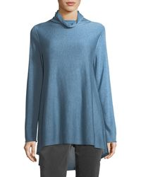 Eileen Fisher - Sleek Scrunch-neck Knit Top - Lyst