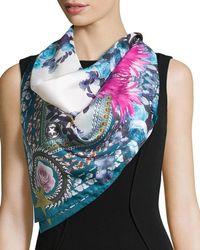 Givenchy | Square Paradise Flower Silk Chiffon Scarf | Lyst