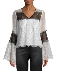 Nanette Lepore - Chanteuse Sheer Lace Bell-sleeve Top - Lyst