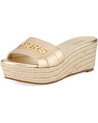 db419b6263c7a MICHAEL Michael Kors - Brady Metallic Logo Platform Sandals - Lyst