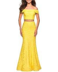 La Femme - Two-piece Stretch Lace Dress Set With Crop Top & Mermaid Skirt - Lyst