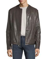 John Varvatos - Men's Irregular Triple-needle Stitch Leather Racer Jacket - Lyst