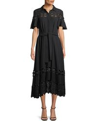 Lela Rose - Flutter-sleeve Textured Silk Cloque Shirtdress With Lace Inset - Lyst