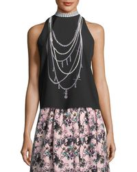 Boutique Moschino | Pearl Necklace-graphic Tank | Lyst