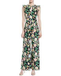 ML Monique Lhuillier - Floral Jumpsuit W/ Keyhole Front & Flounce Sleeves - Lyst