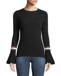 Neiman Marcus - Cashmere Striped Flare-sleeve Sweater - Lyst