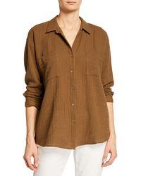 Eileen Fisher Button-down Long-sleeve Organic Cotton Gauze Shirt