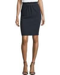 Emporio Armani - Paperbag Waist Stretch-wool Pencil Skirt - Lyst