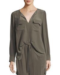 Go> By Go Silk - Silk Flap-pocket Top - Lyst