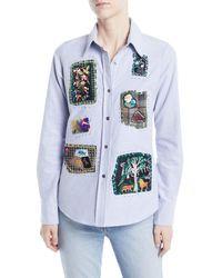 Libertine - Long-sleeve Button-front Patchwork Classic Cotton Shirt - Lyst
