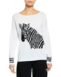 1d1a04332c6 Joan Vass - Petite Boat-neck Sequined Zebra Intarsia Sweater W  Cuff Detail  -