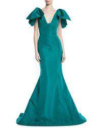 Oscar de la Renta - V-neck Bow-shoulder Fitted Silk Faille Evening Gown - Lyst