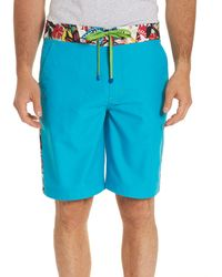 Robert Graham - Dos Rios Graphic-trim Swim Trunks With Wet/dry Color-change Effect - Lyst