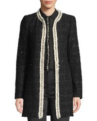 Alice + Olivia - Andreas Collarless Boucle Jacket W/ Crystalized Embroidery - Lyst