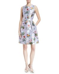 Monique Lhuillier - Jewel-neck Sleeveless Botanical-print Fit-and-flare Structured Dress - Lyst