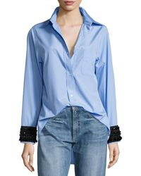 N°21 - Hortensia Embellished-cuffs Button-front Shirt - Lyst