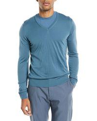 Giorgio Armani - Lightweight V-neck Wool Pullover Sweater - Lyst