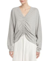 Robert Rodriguez - V-neck Ruched-front Cotton Tee - Lyst