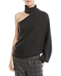 Brunello Cucinelli - One-shoulder Monili Fringe Turtleneck Ribbed Cashmere Sweater - Lyst