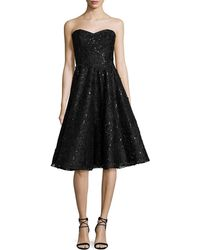 Liancarlo - Embellished Lace Strapless Cocktail Dress - Lyst