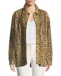 f29f3b0eff1c Valentino - Leopard-print Calf Hair Snap-front Coat - Lyst